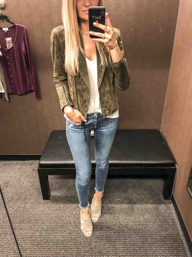 olive moto jacket and jeans