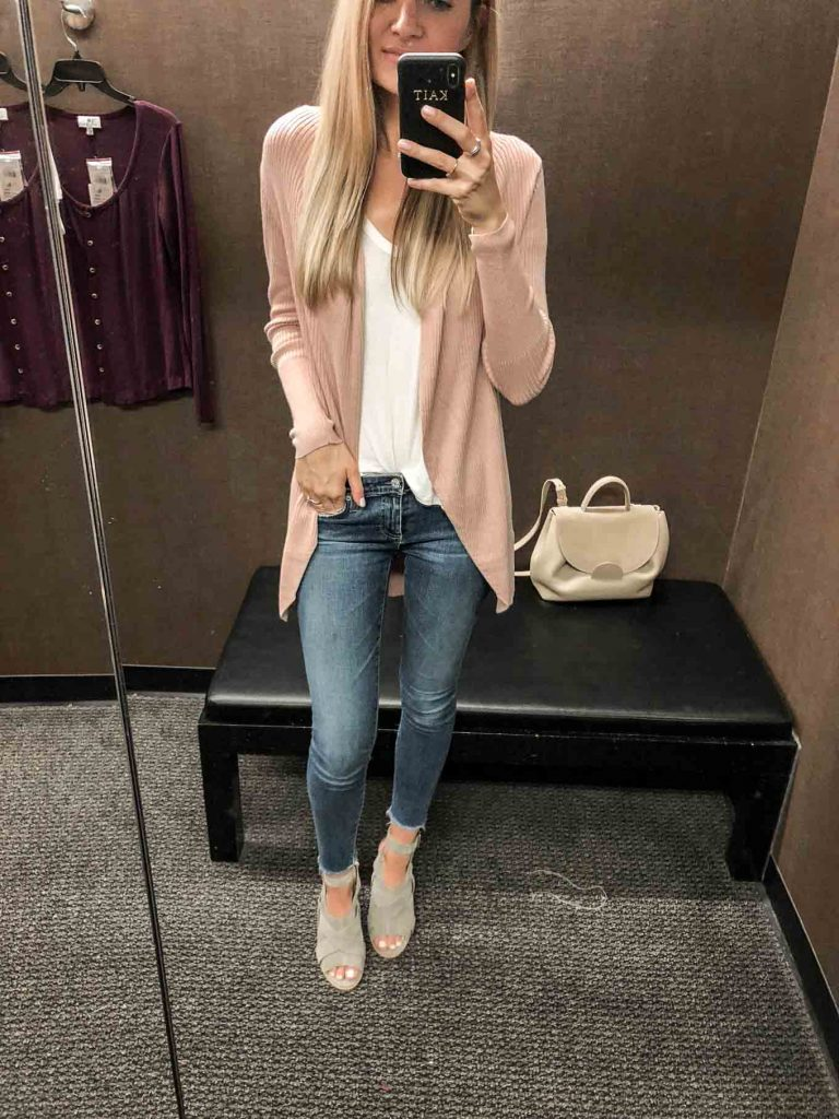 blush cardigan and denim