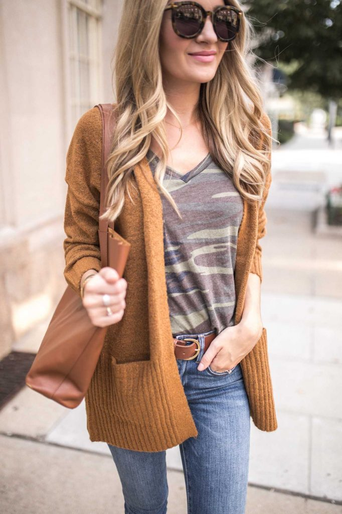 Camo tee with brown cardigan and tote