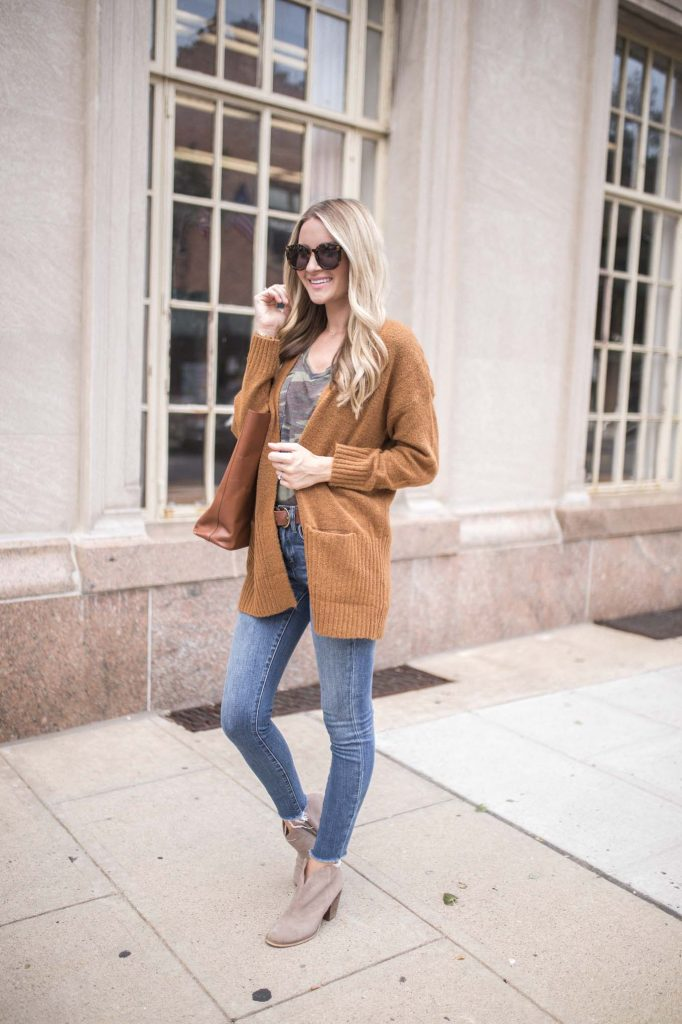Brown long sweater with tan booties