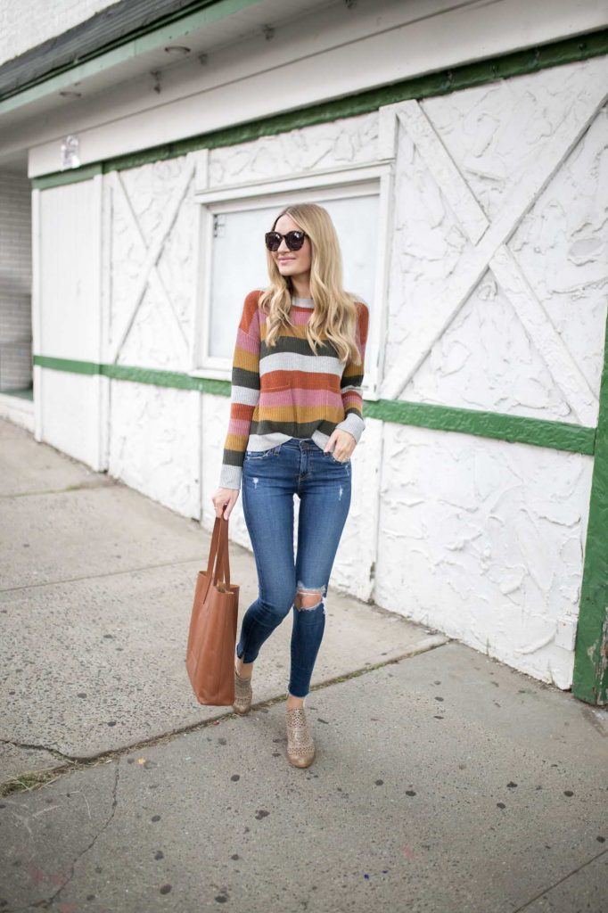 Sweater with Stripes and distressed denim