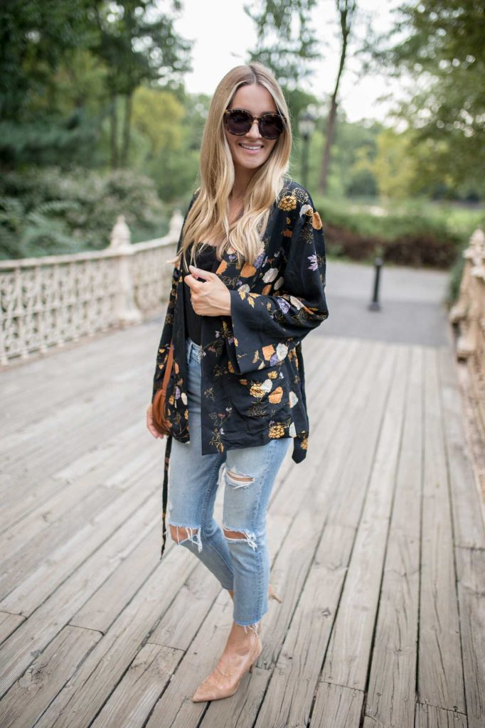 long embroidered jacket with denim and heels
