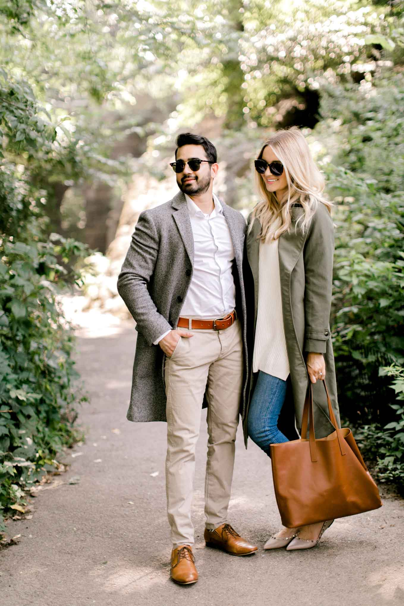 Grey long coat and olive coat