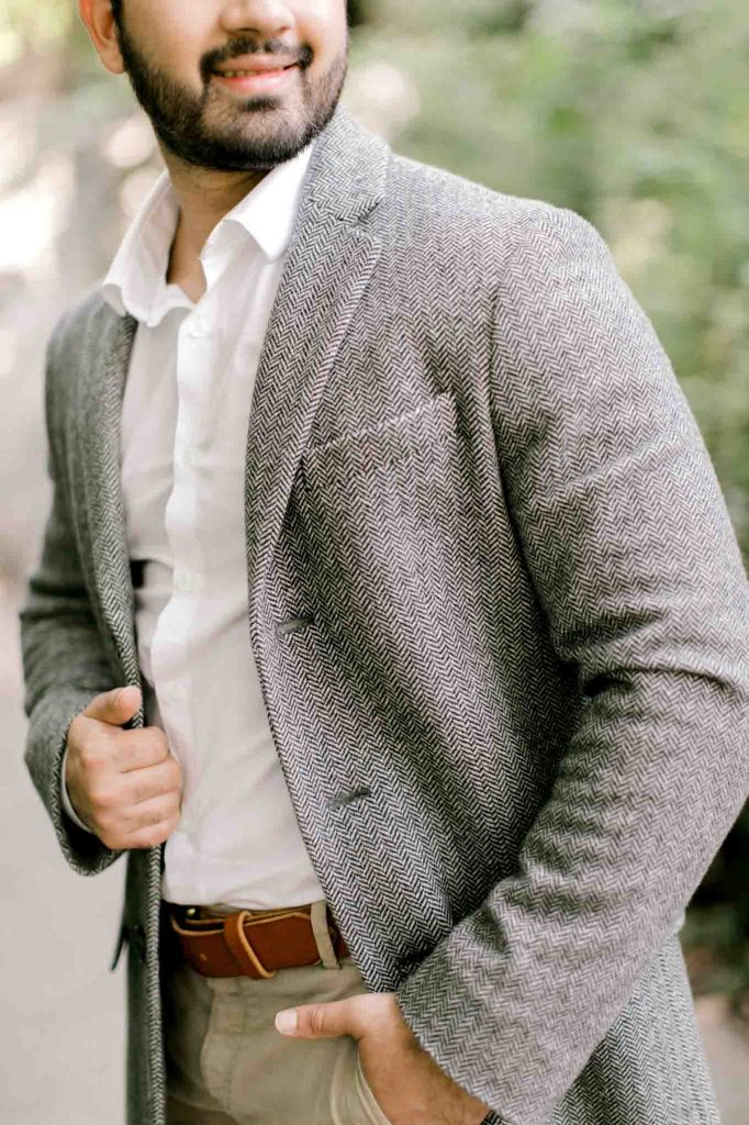 classic grey coat with white top