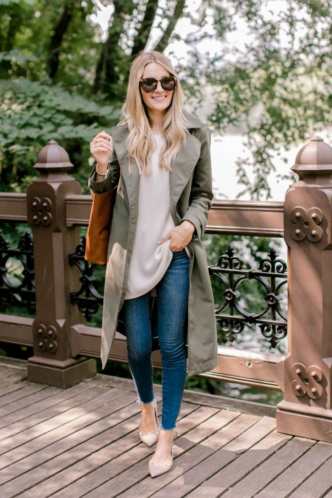 suede olive trench coat and denim