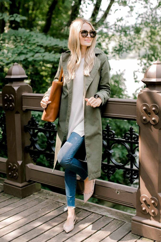 denim with sweater tank fall outfit