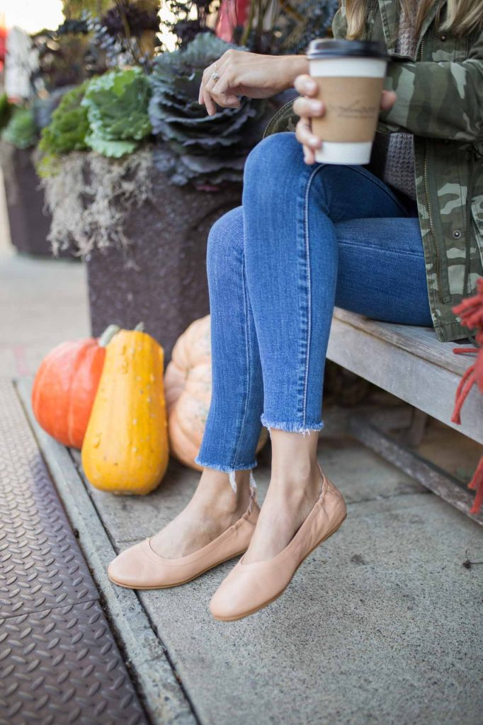 blush shoes and fall denim