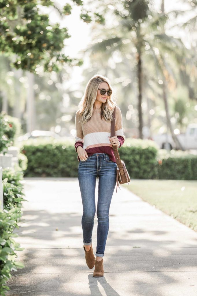 Stripe top with fall denim and brown boots
