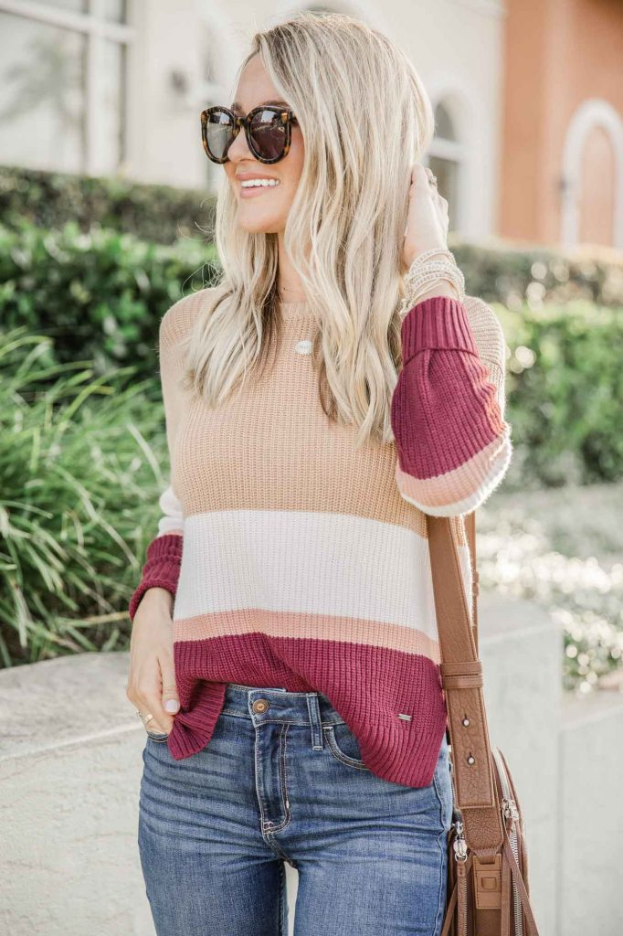 Tan and Burgundy stripe pullover