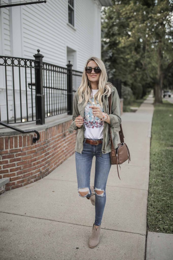 distressed denim fall outfit
