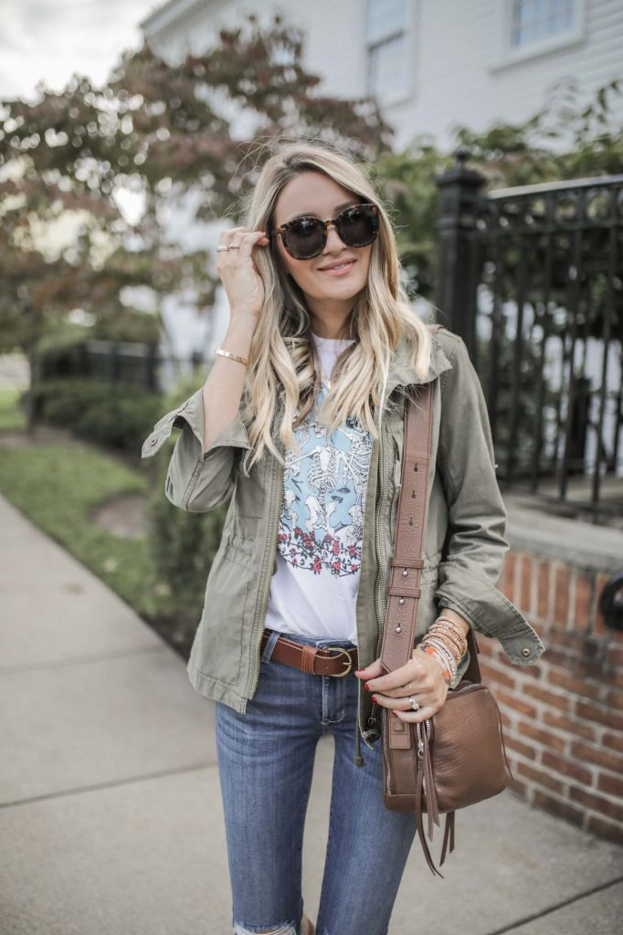 Band tee with Olive Jacket and fall bracelets