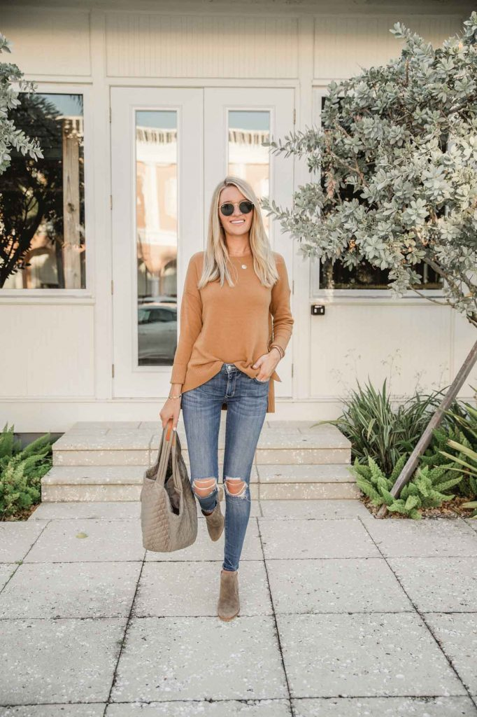 fall sweater outfit with jeans